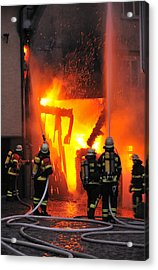 Fire - Burning House - Firefighters Acrylic Print