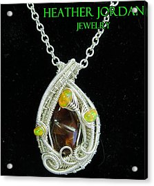 Fire Agate Pendant In Sterling Silver With Ethiopian Welo Opals Fragpss1 Acrylic Print