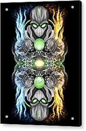Fire And Ice Alien Time Machine Acrylic Print