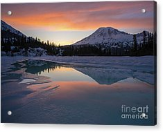 Fire And Ice Rainier Winter Lake Reflection Acrylic Print by Mike Reid