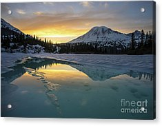 Fire And Ice Rainier Winter Reflection Acrylic Print by Mike Reid