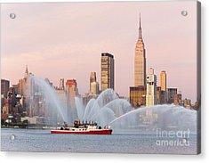 Fire Boat And Manhattan Skyline I Acrylic Print