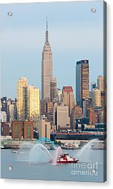 Fire Boat And Manhattan Skyline IIi  Acrylic Print by Clarence Holmes