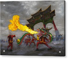 Acrylic Print featuring the painting Fire-breathing Dragon Dancer by Jason Marsh