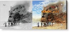 Acrylic Print featuring the photograph Fire - Cliffside Fire 1907 - Side By Side by Mike Savad