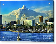 Acrylic Print featuring the photograph Fire Cloud Over Long Beach by Mariola Bitner