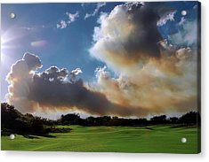 Fire Clouds Over A Golf Course Acrylic Print