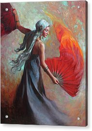 Fire Dance Acrylic Print by Anna Rose Bain