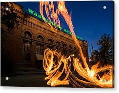 Fire Dancers In Spokane W A Acrylic Print by Steve Gadomski