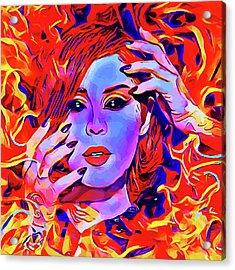 Fire Demon Woman Abstract Fantasy Dark Goth Art Acrylic Print