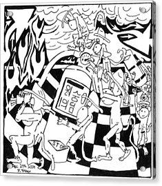 Fire Extinguishing Team Of Monkeys Maze Acrylic Print by Yonatan Frimer Maze Artist