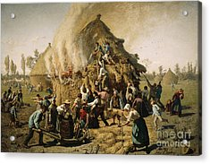 Fire In A Haystack, 1856 Acrylic Print by Jules Breton