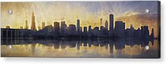Fire In The Sky Chicago At Sunset Acrylic Print