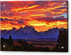 Fire In The Teton Sky Acrylic Print