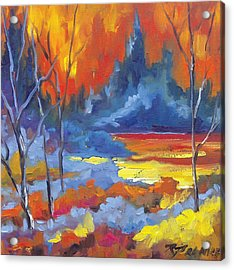 Fire Lake Acrylic Print by Richard T Pranke