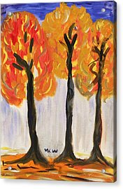 Fire Of The Wood Acrylic Print by Mary Carol Williams