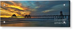 Fire On The Sky - Huntington Beach Pier Acrylic Print by Peter Dang