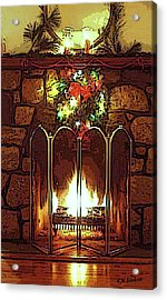Fire Place Acrylic Print by Kenneth Lambert
