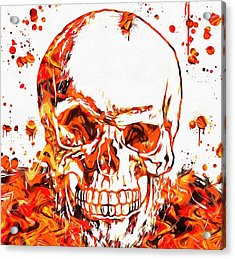Fire Skull Acrylic Print by Dan Sproul
