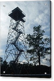 Fire Tower In The Forest Acrylic Print by Warren Thompson