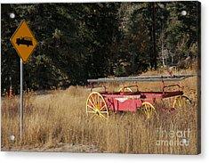Fire Truck Crossing Acrylic Print by David Pettit