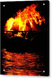 Fire Water Illuminates The Night Acrylic Print