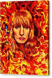 Fire Woman Abstract Fantasy Art Acrylic Print