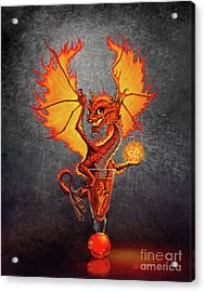 Acrylic Print featuring the digital art Fireball Dragon by Stanley Morrison