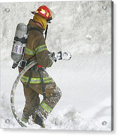 Firefighter In The Snow Acrylic Print by Jack Dagley