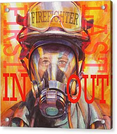 Acrylic Print featuring the painting Firefighter by Steve Henderson