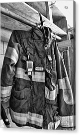 Fireman - Saftey Jacket Black And White Acrylic Print by Paul Ward