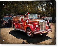 Fireman - The Procession  Acrylic Print by Mike Savad