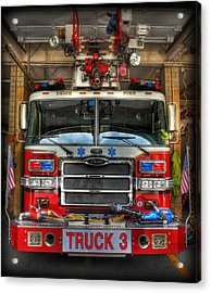 Fireman - Fire Engine Acrylic Print