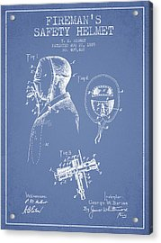 Firemans Safety Helmet Patent From 1889 - Light Blue Acrylic Print by Aged Pixel