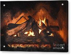 Fireplace  ... Acrylic Print by Chuck Caramella