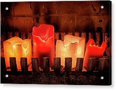 Fireplace Candles Acrylic Print by Jim Hughes