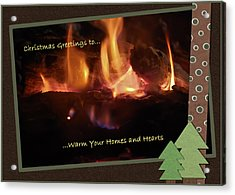 Fireside Christmas Greeting Acrylic Print by DigiArt Diaries by Vicky B Fuller