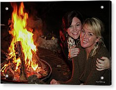 Acrylic Print featuring the photograph Fireside Sisterly Love Night Photography Art by Reid Callaway