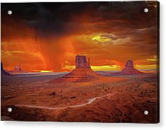Firestorm Over The Valley Acrylic Print