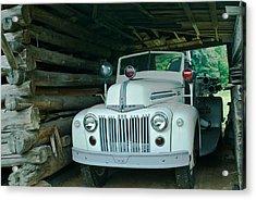 Firetruck In A Barn Acrylic Print