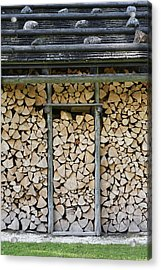 Firewood Stack Acrylic Print by Frank Tschakert