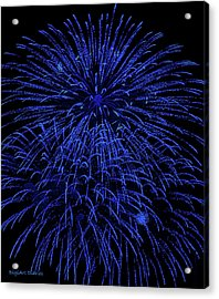 Firework Blues Acrylic Print by DigiArt Diaries by Vicky B Fuller