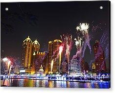 Fireworks Along The Love River In Taiwan Acrylic Print by Yali Shi