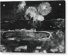 Fireworks At Eagle Nest Lake...0oohh..aahh.. Acrylic Print by Laurie Hill Phelps