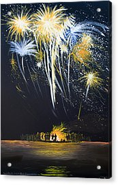 Fireworks Bonfire On The West Bar Acrylic Print by Charles Harden