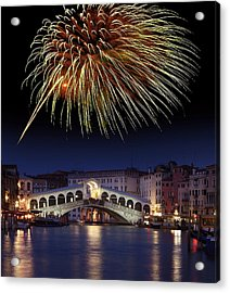 Fireworks Display, Venice Acrylic Print by Tony Craddock
