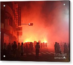 Acrylic Print featuring the photograph Fireworks During A Temple Procession by Yali Shi