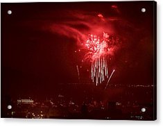Fireworks In Red And White Acrylic Print