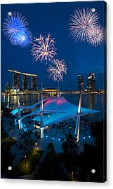 Acrylic Print featuring the photograph Fireworks by Ng Hock How