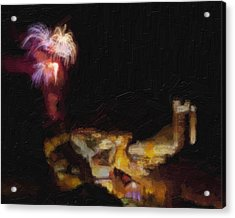 Fireworks Over Blackhawk Colorado Acrylic Print by David Renner